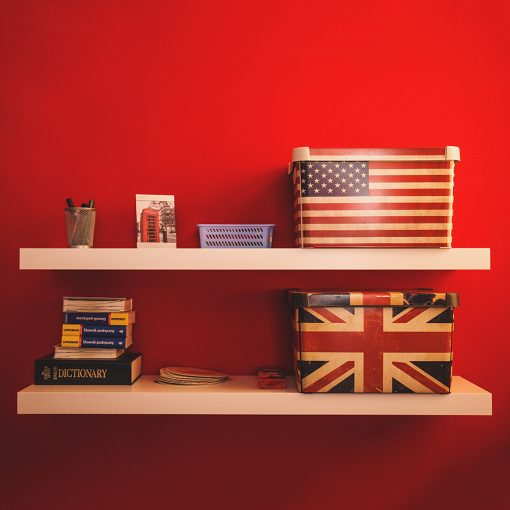 boxes british flag american flag